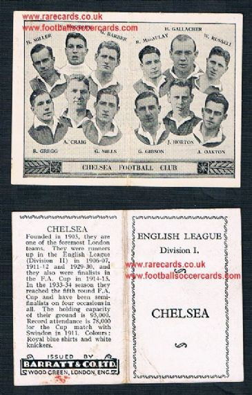 1934 Barratt English League Div 1 folder Chelsea
